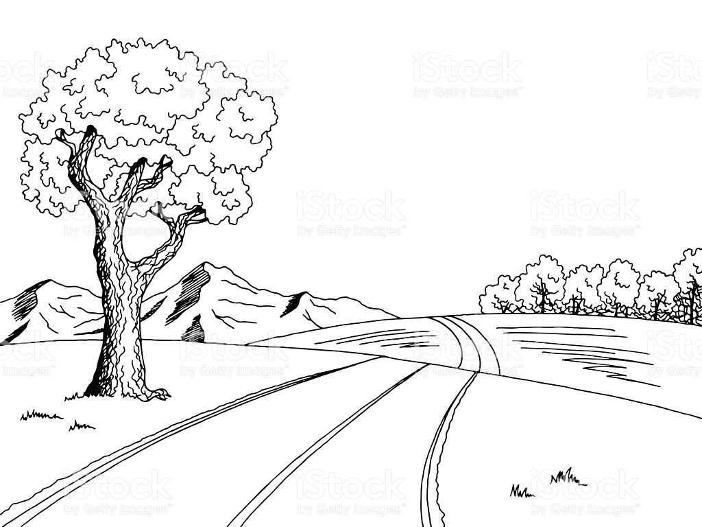 Landscape clipart black and white 7 » Clipart Station.