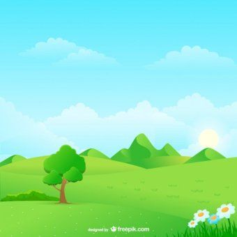 Sunny Meadow landscape Vector Illustration.