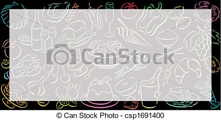 Vector Clipart of food background landscape format.
