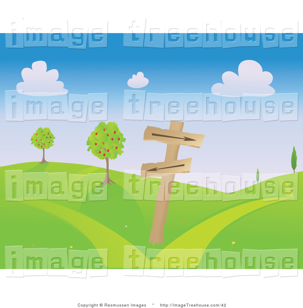 Clipart of a Hilly Landscape with Hiking Signs.