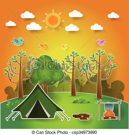 EPS Vectors of Landscape.Hiking and camping. Vector illustration.