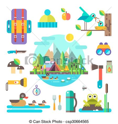 Clip Art Vector of Set of hike elements and icons. Camping objects.