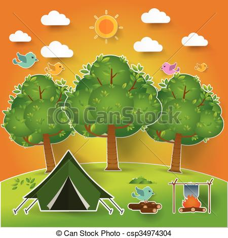 Vector Clipart of Landscape.Hiking and camping. Vector.