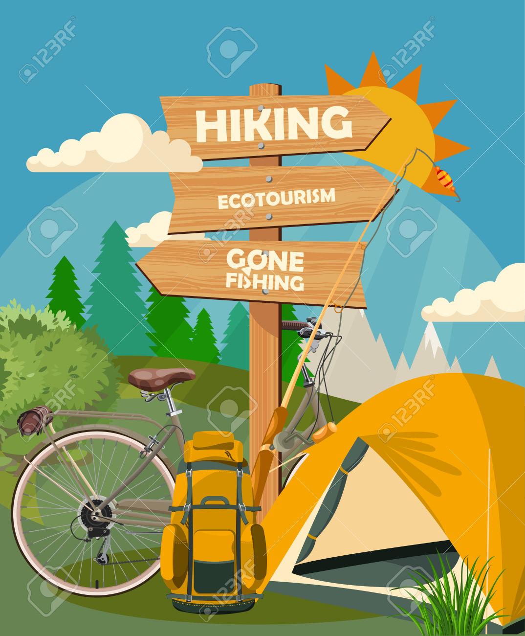 Hiking And Camping. Summer Landscapes. Vector Illustration. Flat.