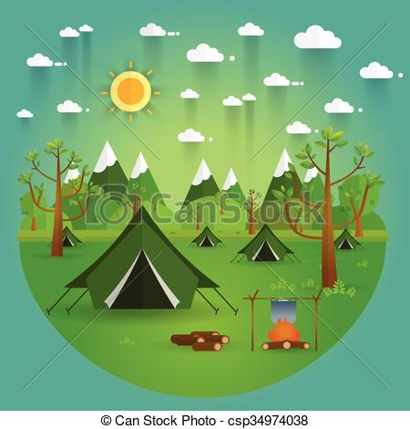 Vectors of landscape.Hiking and camping. Vector flat illustration.