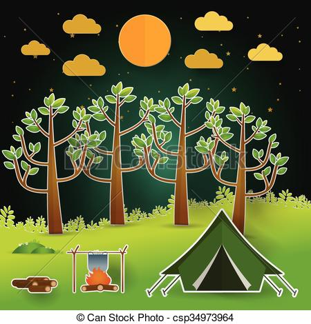 Clip Art Vector of Landscape.Hiking and camping. Vector.