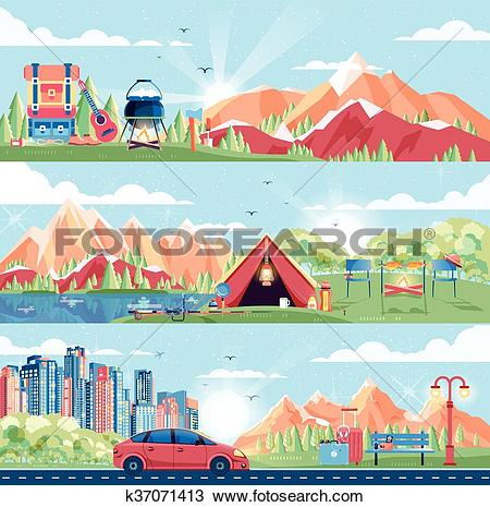 Clipart of illustration set of day landscape, mountains, dawn.