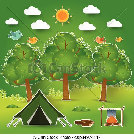 EPS Vector of Landscape.Hiking and camping. Vector illustration.