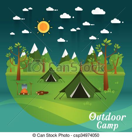 Clipart Vector of landscape.Hiking and camping. Vector flat.