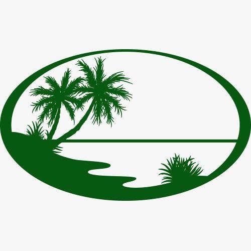 Silhouette Of Summer Seaside Landscape Logo.