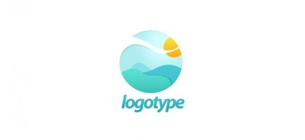 Free landscape logo design PSD file.