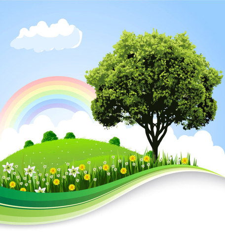 The natural landscape cartoon background, vector graphics.