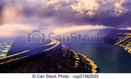 Stock Illustration of Volcanic landscape panorama.