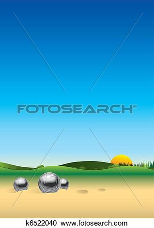 Clipart of Panorama landscape petanque k6522040.