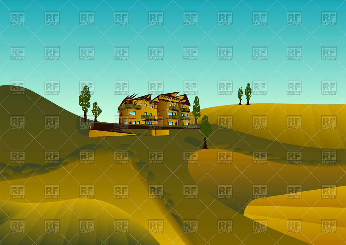 Tuscany landscape panorama with hills and meadow Vector Image.