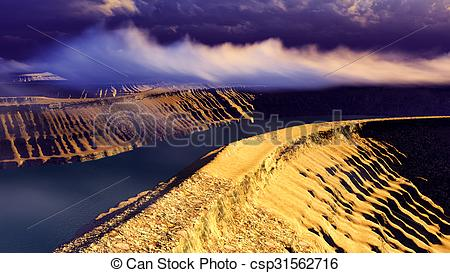 Clipart of Volcanic landscape panorama.