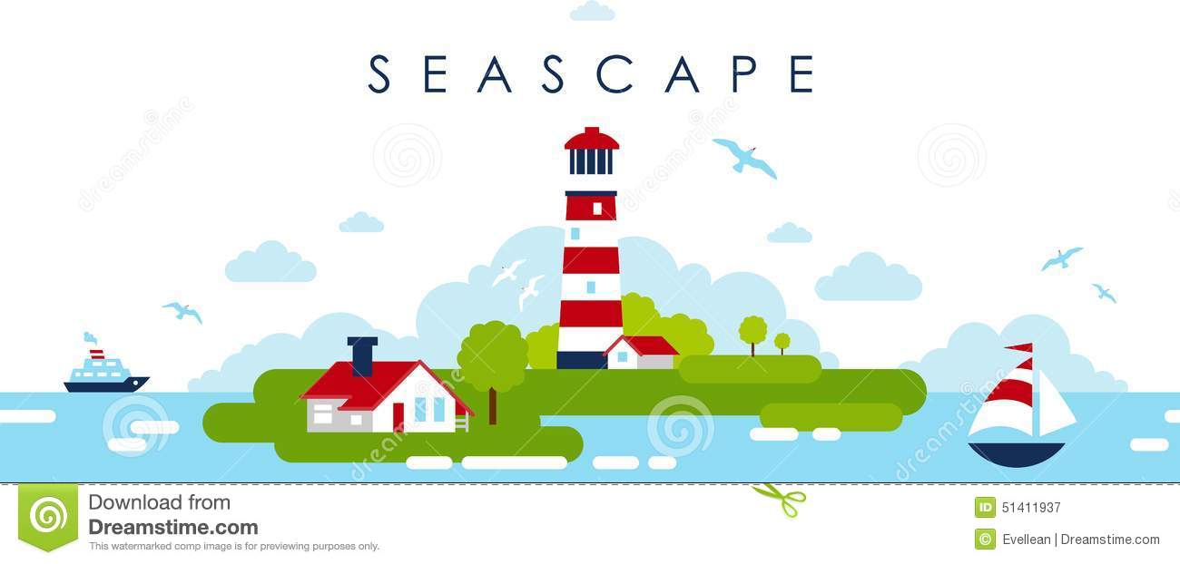 Sea Panoramic Landscape Background With Lighthouse In Flat Style.