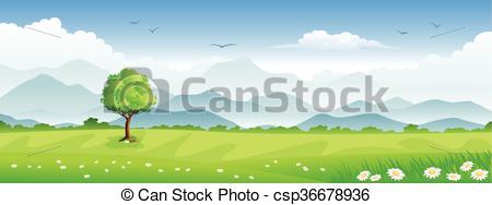 Vectors of Panorama summer landscape.