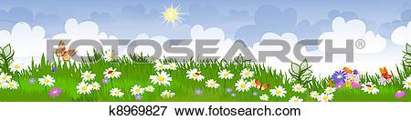 Clip Art of summer landscape panorama k8969827.