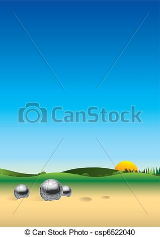 Vector Clipart of Panorama landscape petanque csp6522040.