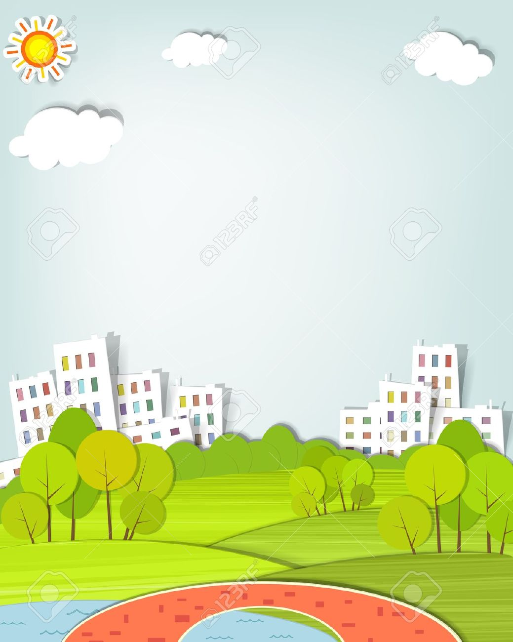 Urban Landscape With Trees, Lake And Bridge Royalty Free Cliparts.