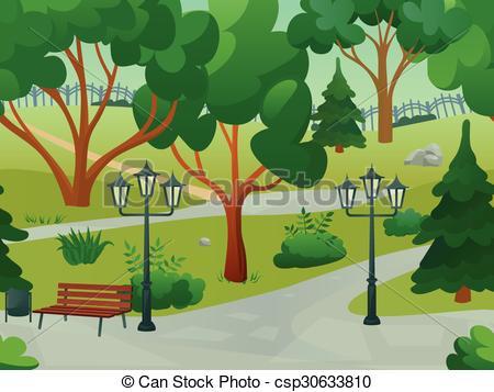 Clip Art Vector of Game 2d winter landscape park background.