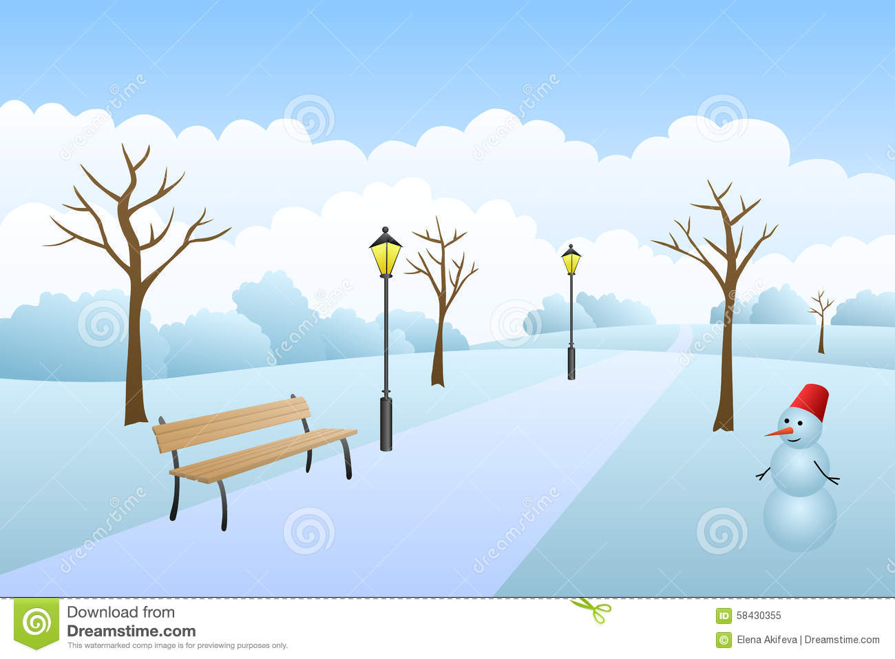 Park Winter Landscape Snow Day Illustration Stock Vector.