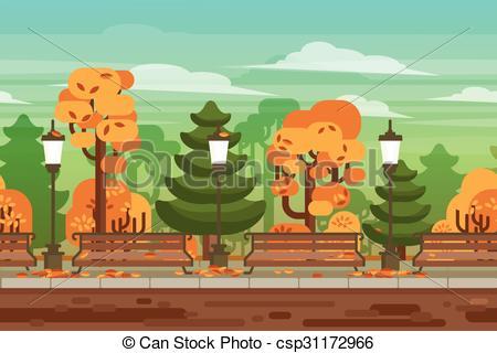Clip Art Vector of Game seamless autumn landscape park background.