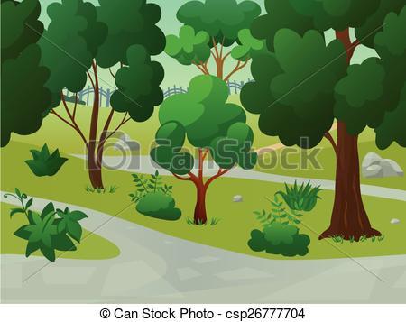 Vector Clipart of Park Landscape Illustration.