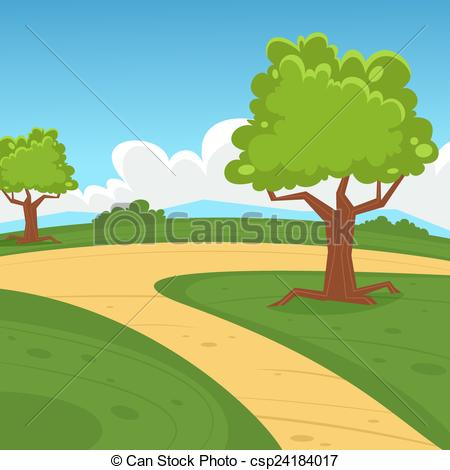 Vector Clip Art of Cartoon Landscape.