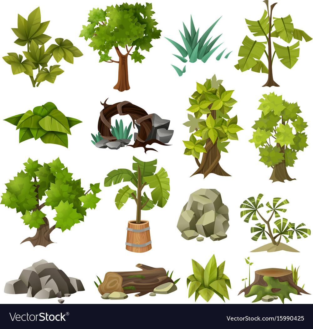 Trees plants landscape gardening elements.