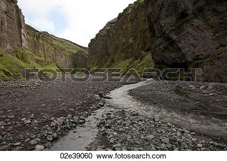 Stock Photography of Rugged mountain canyon landscape with rocky.