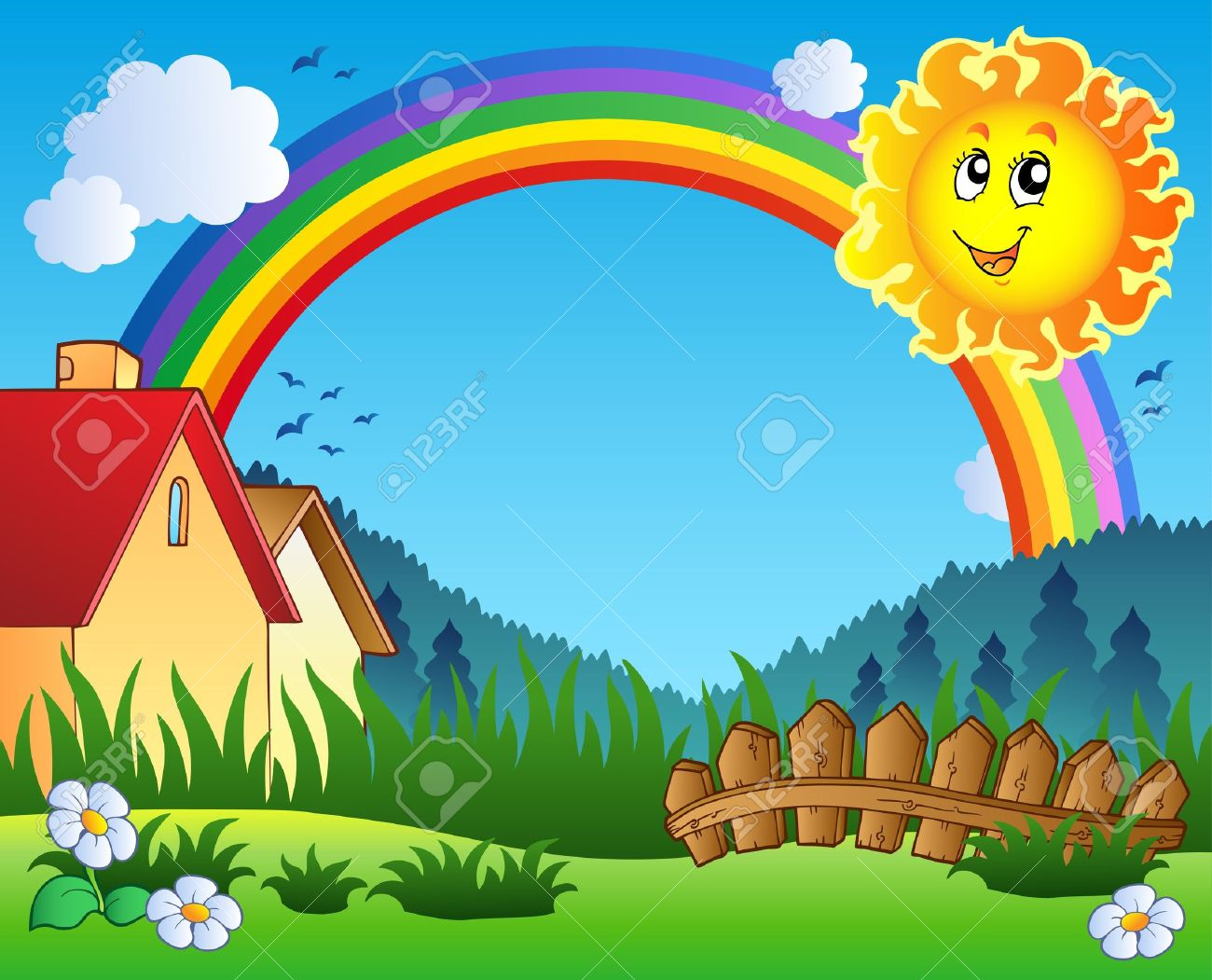 Rainbow scenery clipart.