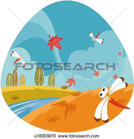 Clipart of changing, scenic, weather, climate, scenery, landscape.