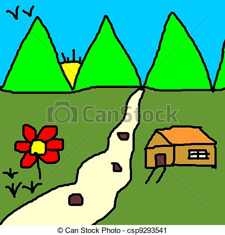 Clipart of colourful landscape drawing by a kid csp9293541.