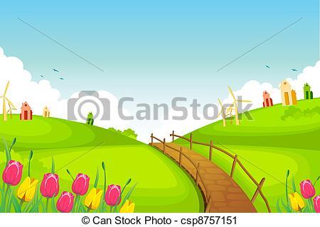 Vector Clip Art of Spring Landscape.