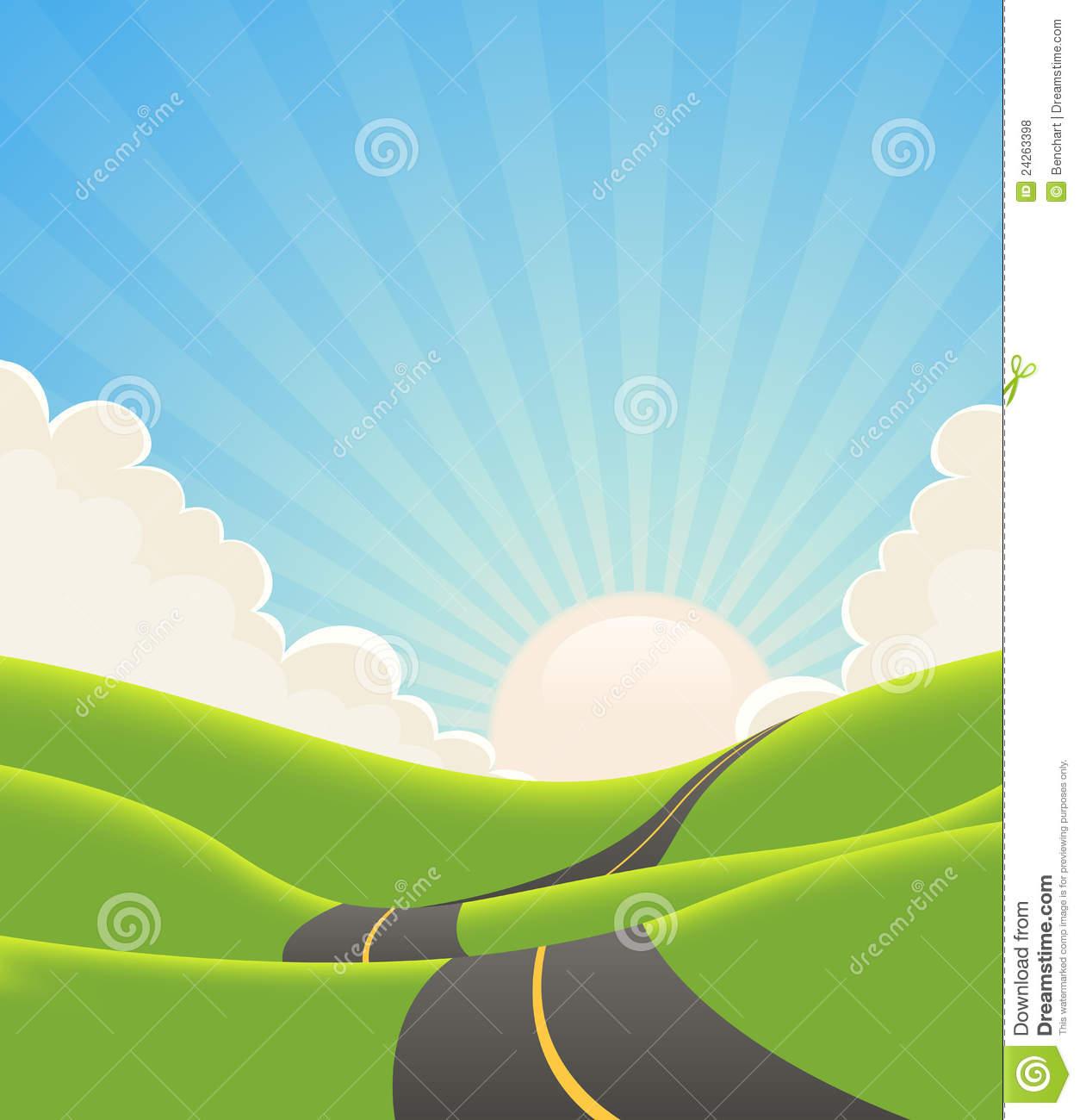 Road landscape clipart.