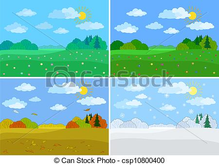 Vector Clipart of Set forest landscapes, seasons: spring, summer.