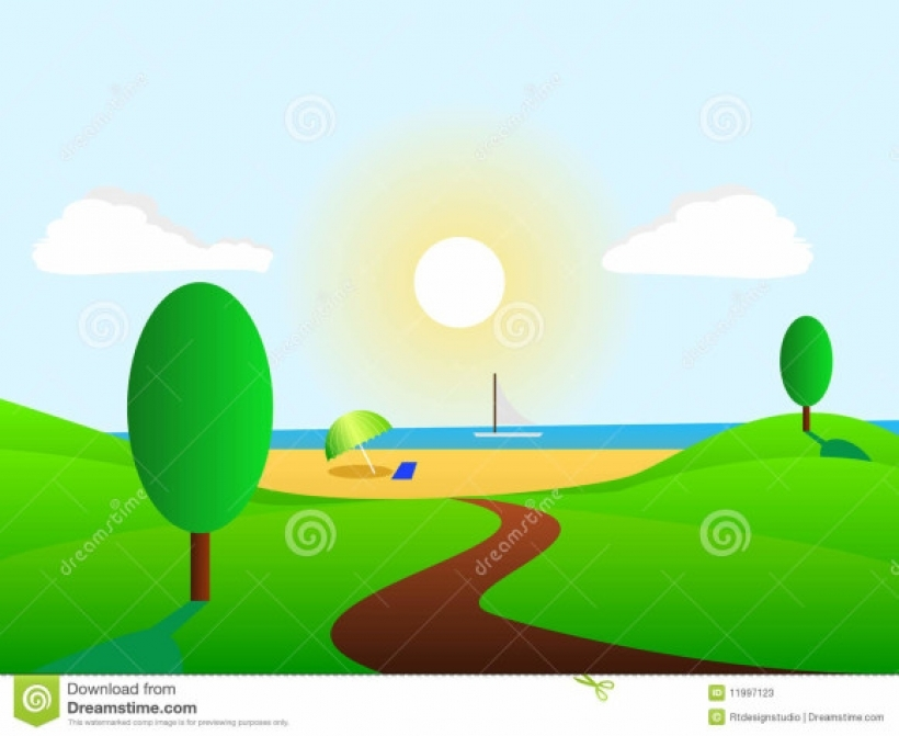 beautiful and green summer landscape clipart in summer landscape.