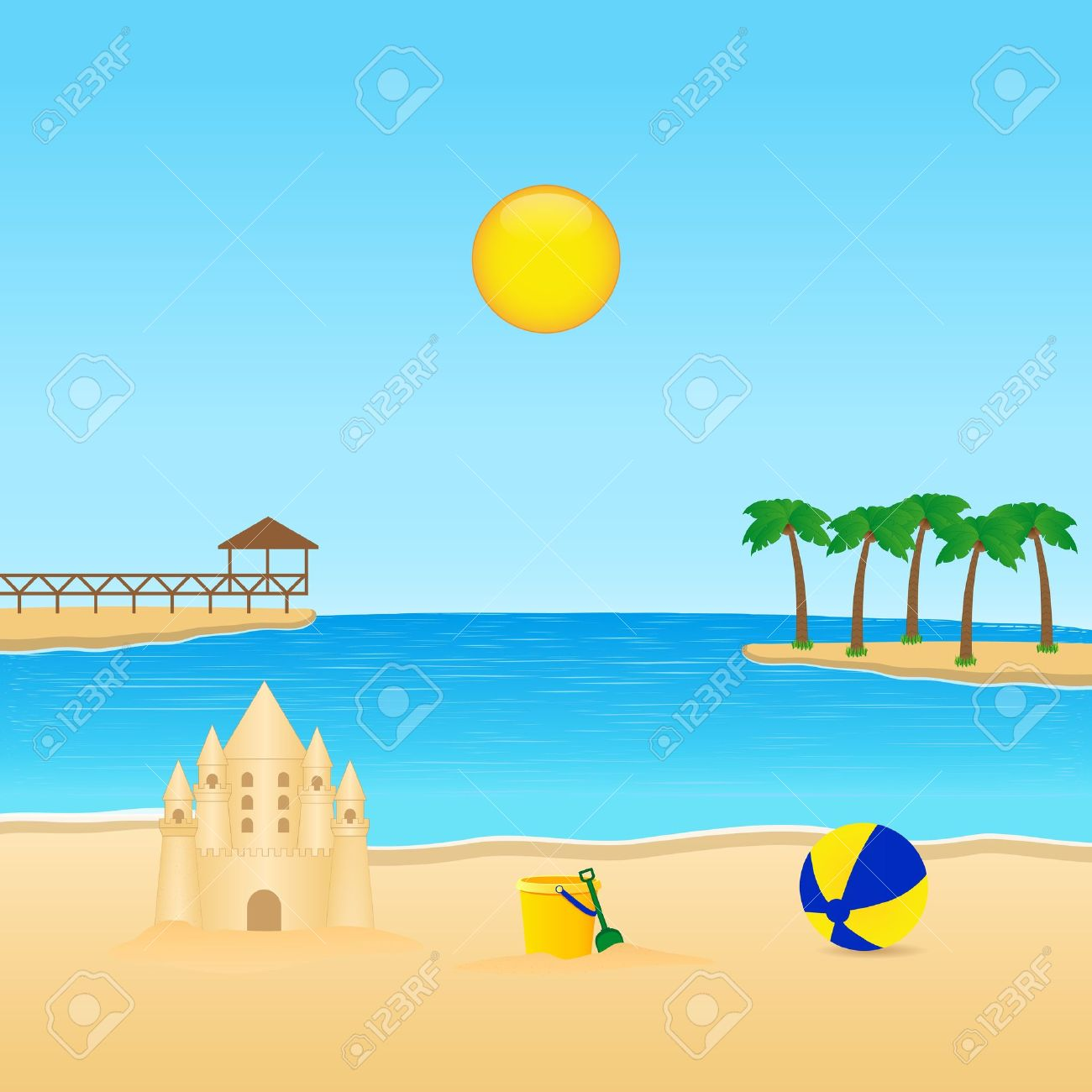 Tropical Landscape With Sandcastle Royalty Free Cliparts, Vectors.