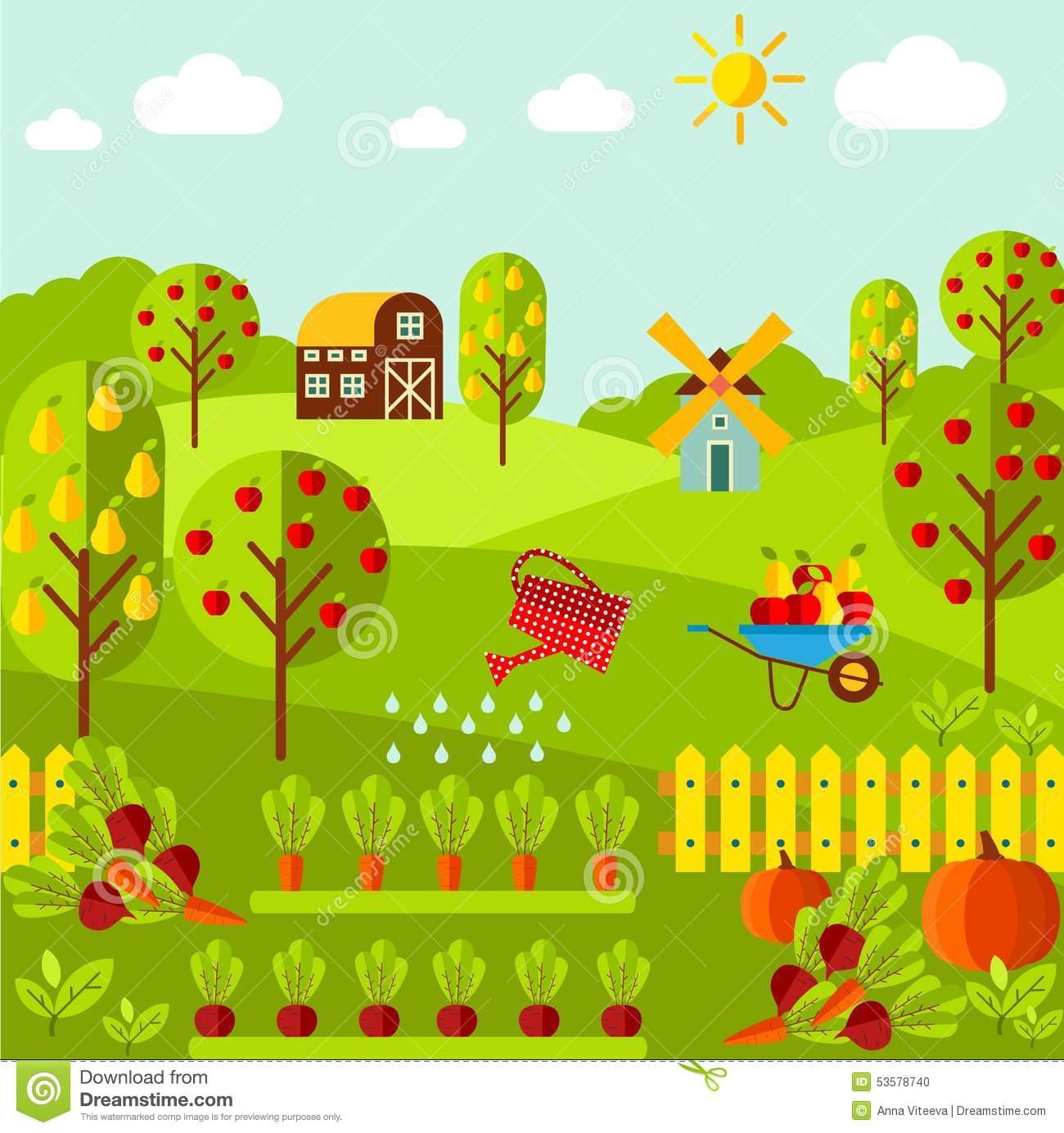 Rural Landscape With Organic Vegetables, Fruit Garden, Farm, Mill.