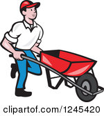 Clipart Retro Landscaper Mowing A Lawn Near A House.