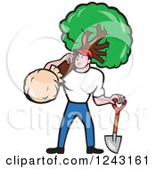 Clipart Retro Landscaper Mowing A Lawn Near A House.
