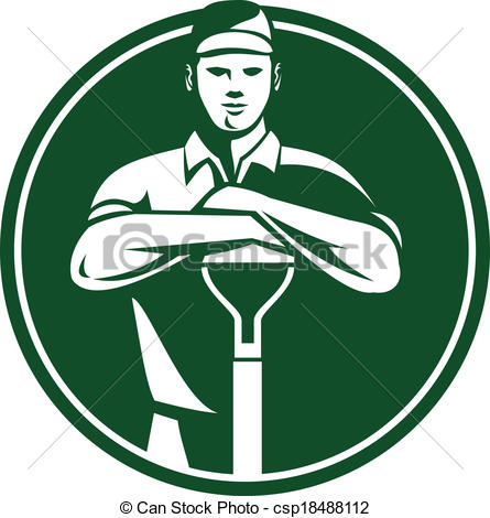Vector Clip Art of Gardener Landscaper Shovel Front Retro.