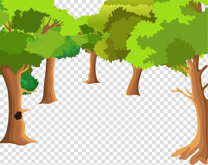 Five green leafed trees , Landscape painting Cartoon Drawing.