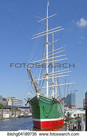 Stock Image of Museum ship Rickmer Rickmers, Landungsbrucken.