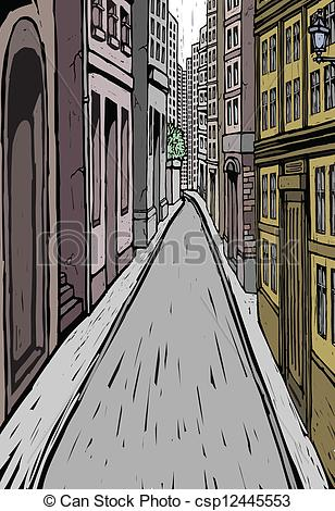 Clipart Vector of Lane and building Exterior.