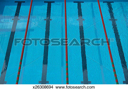 Stock Photo of Empty swimming pool with lane lines and lane.