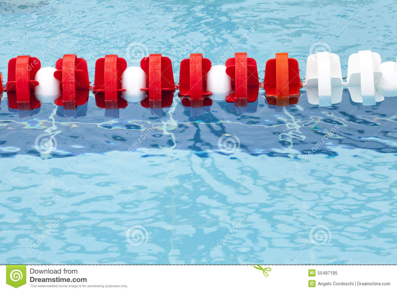 Lane Divider, Pool Marker Lines. Blue Clean Water Stock Photo.