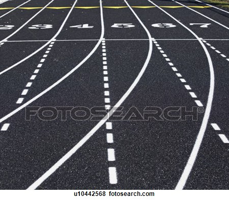 Track Lanes Black And White Clipart.
